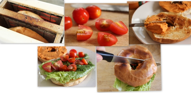 How to make Toasted Roasted Red Pepper Hummus Sandwich
