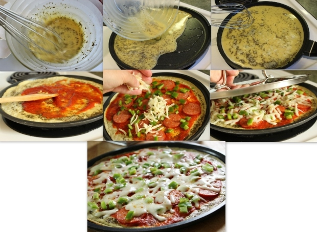 Steps to making pizza omelette for college