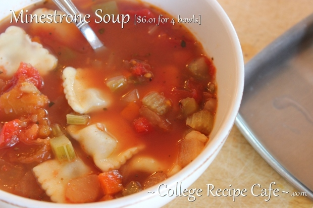 Minestrone Soup in Minutes. Easy soup recipe for college and university students.