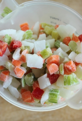 Diced frozen vegetables make cooking at college or university easier.