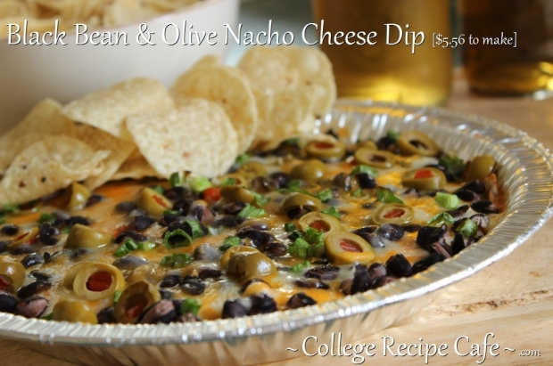 Black Bean and Olive Nacho Cheese Dip ~ College Snack