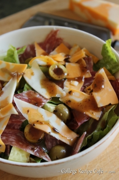 Salami, Olive and Cheese Salad: College Recipe Cafe