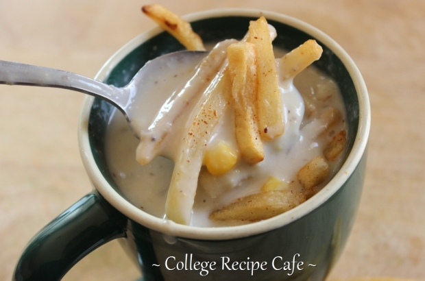 Easy Chowder Soup recipe for college. The soup warms you up and the crispy fries on top make it extra delicious!