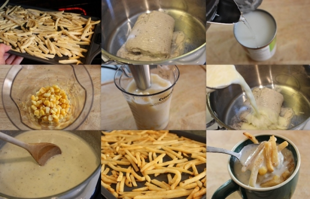 How to make Corn and Mushroom Chowder with Fries recipe from College Recipe Cafe: Step-by-step pictures