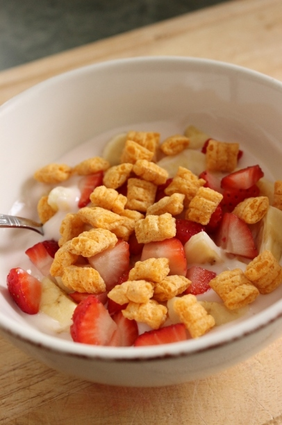 Yogurt Fruit Salad with Captain Crunch Croutons