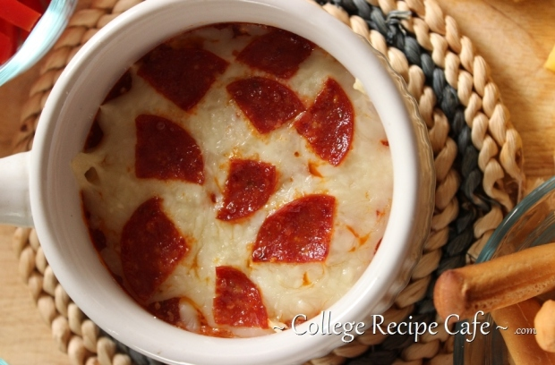"Pizza ""Fun-Due"": Topped with melted mozzarella and pepperoni slices."