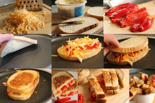How to make Roasted Red Pepper Grilled Cheese from College Recipe Cafe.