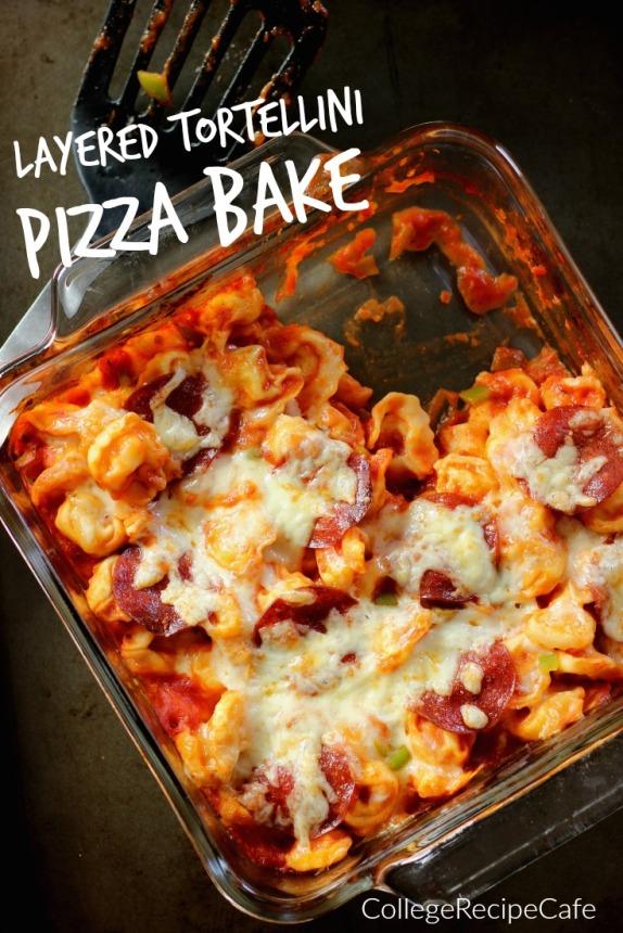 Layered Tortellin Pizza Bake: #LessMessRecipe