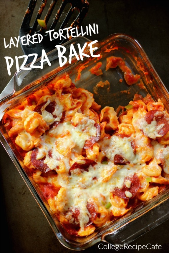 Layered Tortellin Pizza Bake: #LessMessRecipe