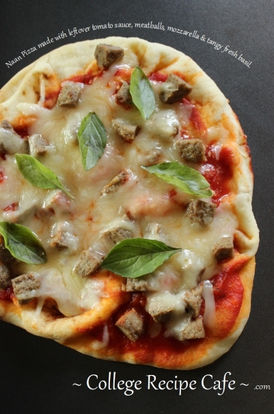 Grilled Naan Meatball Pizza