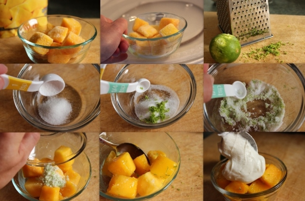 How to make a quick and healthy dessert using Greek yogurt and mango.
