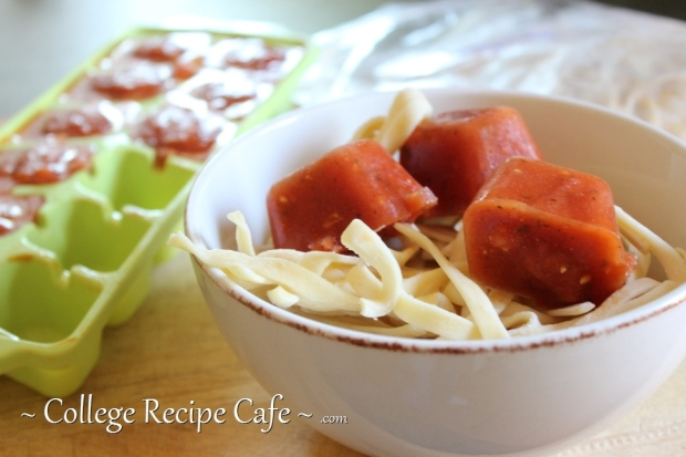Freeze leftover pasta and sauce for a quick no-fuss meal at college.