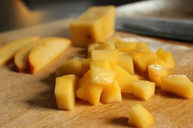 Fresh diced peaches for Peaches and Cream Oatmeal