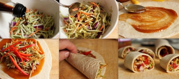 Broccoli coleslaw makes these healthy vegetable spring rolls a cinch to assemble.