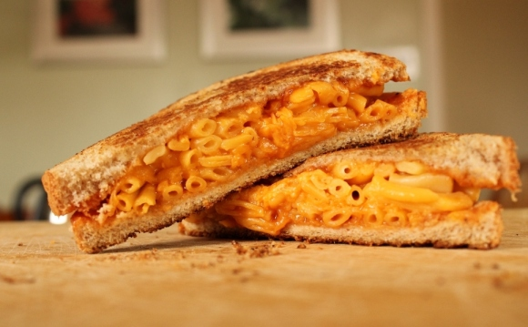Grilled Mac and Cheese Sandwich with Barbecue Sauce: Look in the ...