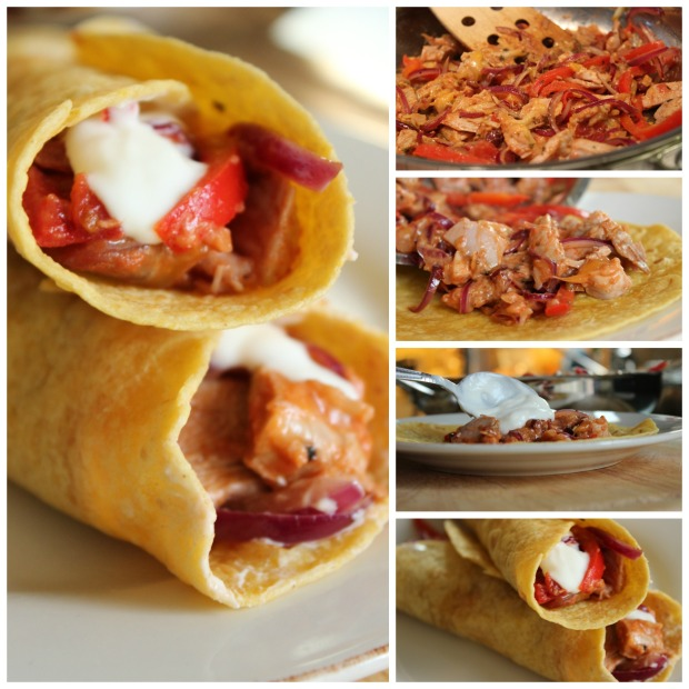 Step by step pictures on how to make turkey burritos