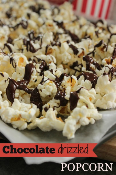 Chocolate Drizzled Popcorn to share with your S.O. - laughably easy to make!
