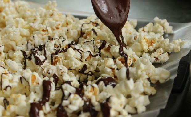 It can't be called Valentine's Day Popcorn unless it's drizzled with melted chocolate.