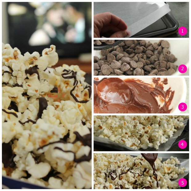 Easy to make Chocolate Drizzled Popcorn