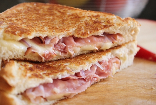 Stacked Grilled Ham and Gouda Sandwich from College Recipe Cafe. Easy way to add gourmet flavor to your grilled cheese sandwich!