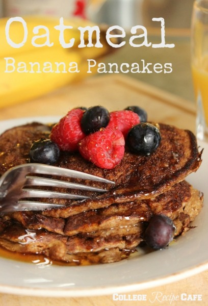 Oatmeal Banana Pancakes. Recover faster after a hard workout by eating these delicious easy to make pancakes!