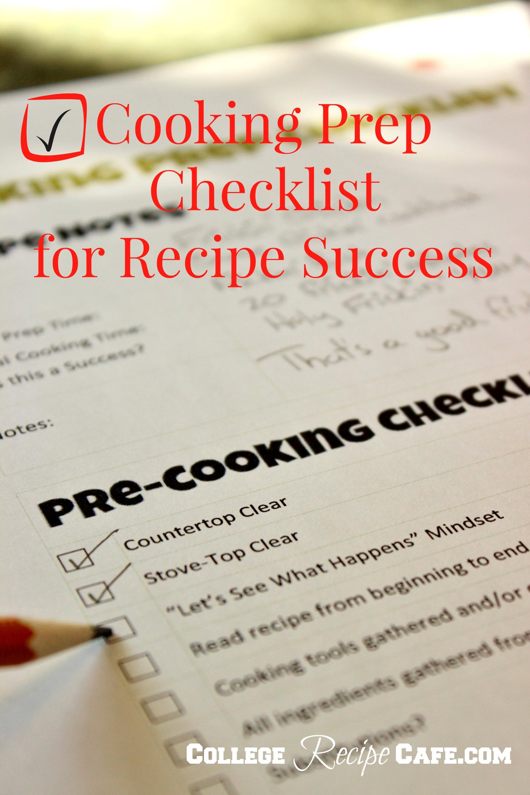 recipe checklist - Yeni.mescale.co