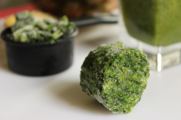 What can you do with this frozen spinach nugget? Well, you could blend this!