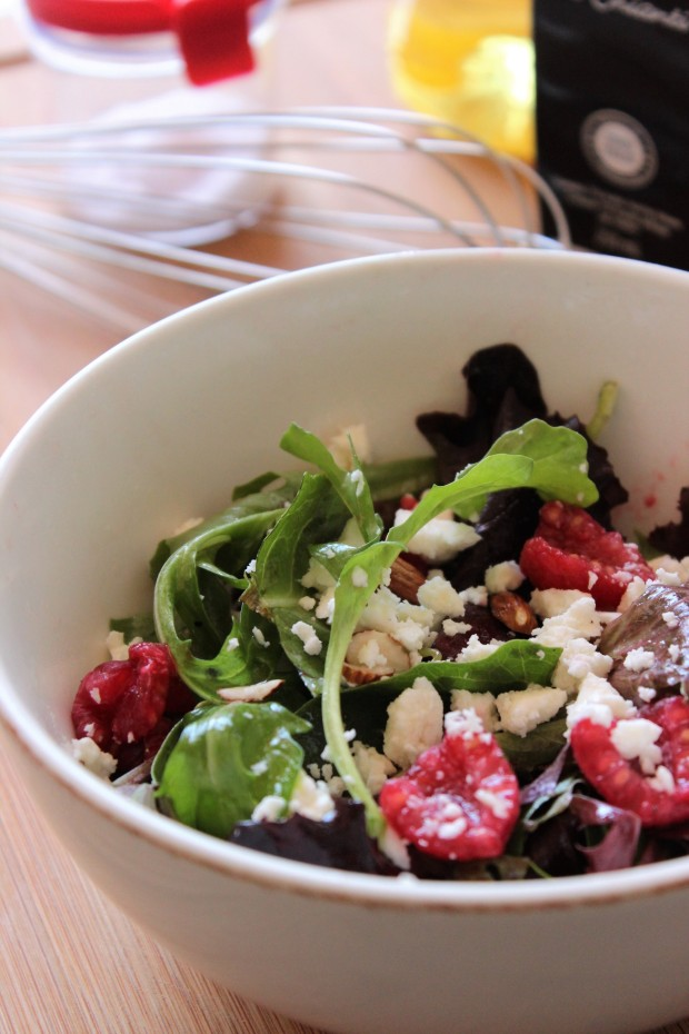 Insanely Easy, Healthy Spring Mix Salad with Feta, Almonds and Berries You Can Make in Minutes.