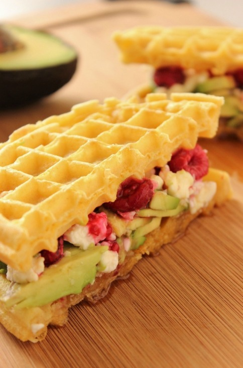 Avocado and Feta Breakfast Waffle Sandwich