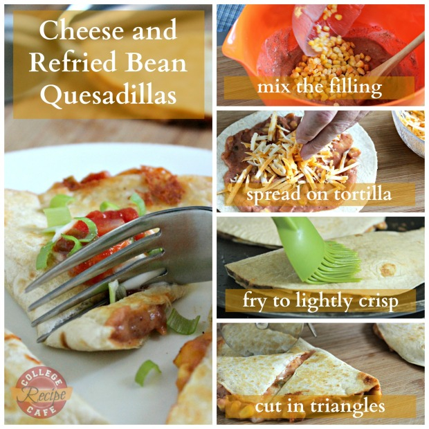 How to Make Cheese and Bean Quesadillas: Step by Step