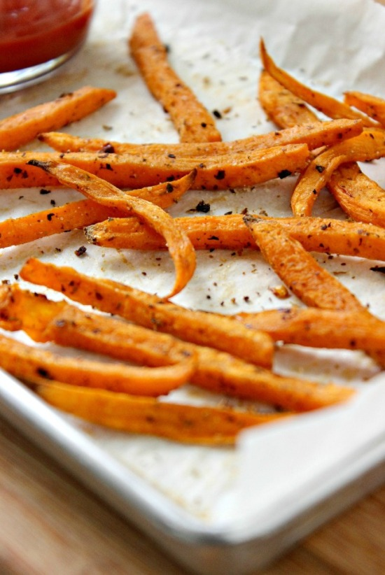 Seasoned sweet potato fries hot and ready to eat