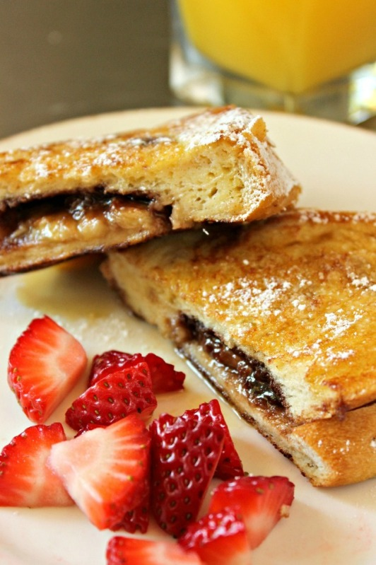 Nutella and Banana French Toast with Strawberries