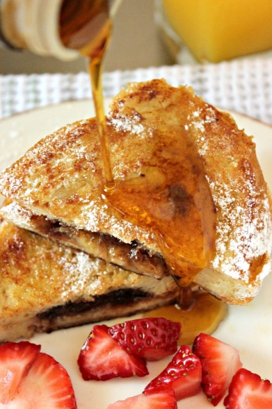 Nutella and Banana French Toast drizzled with syrup