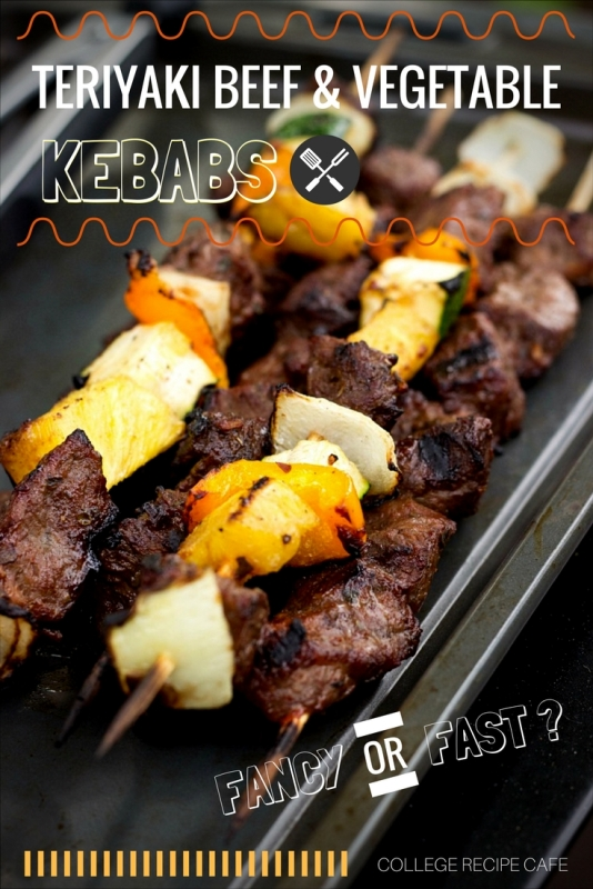 Teriyaki Beef and Vegetable Kebabs: Make them fancy for guests and fast for yourself!