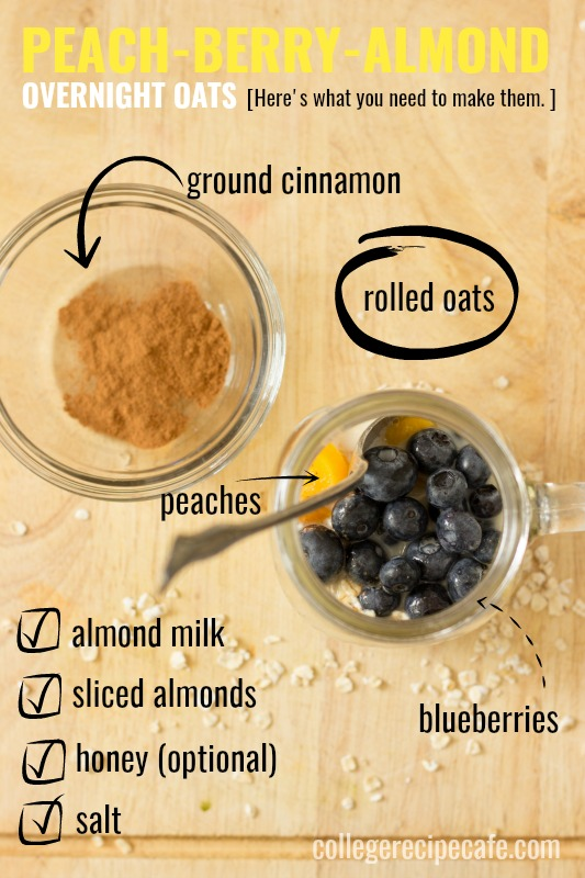 Peach-Berry-Almond Overnight Oats Ingredient List