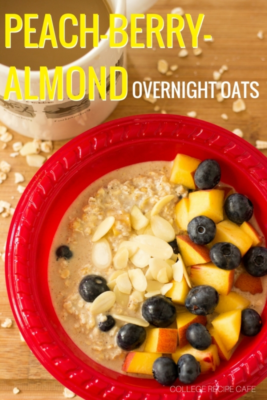 Peach Berry Almond Overnight Oats